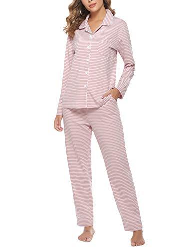 Hawiton Damen Schlafanzug Langarm Pyjamas Set Nachtwäsche mit Knopfleiste Zweiteiliger SleepwearPink S