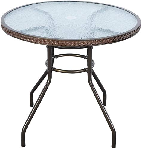 """S AFSTAR Outdoor Patio Dining Table, 32"""" Round Conversation Coffee Tablewith Umbrella Hole and Tempered Glass Tabletop, Ideal for Backyard Poolside"""