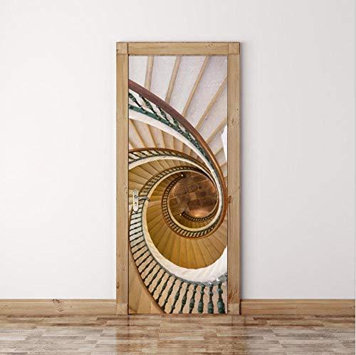 Puerta 3D Etiqueta, Impermeable Pvc Autoadhesivo Etiqueta De La Pared, Hogar Decorativos Papel Pintado Pared Arte, Hermosa Escalera De Caracol, 80X200Cm