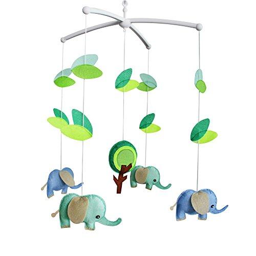 Cute Elephants Nursery Mobile, berceau exquis pour lit de lit, décor coloré
