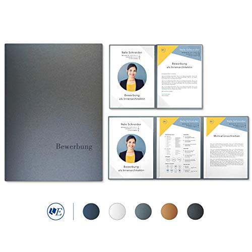 """5 Stück 4-teilige Bewerbungsmappen Esclusiva® Exzellent-plus in Zink mit 2 Klemmschienen // in 1A-Premium-Qualität mit hochwertiger Flach-Prägung """"BEWERBUNG"""" // Produkt-Design von"""