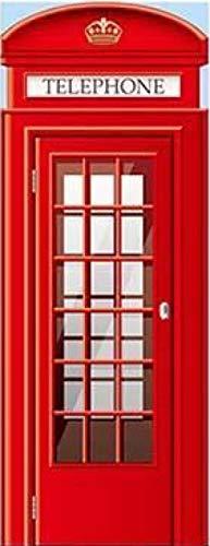 XWDDDET Pegatinas De Puerta 3D Para Puertas Interiores Cabina De Teléfono Roja Retro 80X200Cm Papel Tapiz De Vinilo Para Bricolaje, Póster, Calcomanías Para Puertas, Murales Para Puertas, Decoracion
