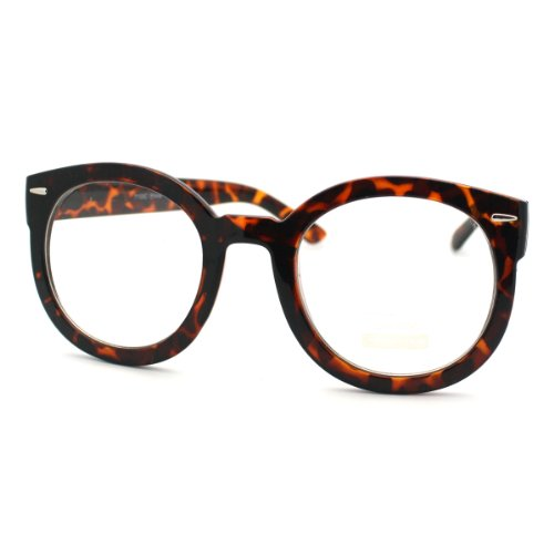 Tortoise Oversized Round Thick Horn Rim Clear Lens Fashion Eye Glasses Frame