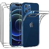 ivoler custodia cover compatibile con iphone 12 pro / iphone 12 6.1 pollici con 3 pezzi pellicola vetro temperato, ultra sottile morbido tpu trasparente silicone antiurto protettiva case