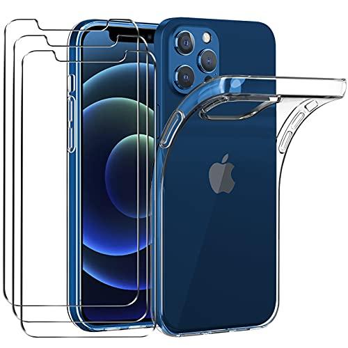 iVoler Custodia Cover Compatibile con iPhone 6.1 Pollici 12 PRO e 12 con 3 Pezzi di Vetro Temperato Incluso, Cover Protettiva Antiurto Morbida e in Silicone, Trasparente