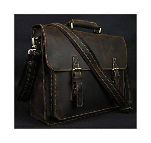 T-ara The New Vintage Dotty Horse Leather Men Briefcase Laptop Bag Work Business Bag Actual Leather Briefcase Men Shoulder Bag Crossbody bag Essential for hiking (Color : Dark Coffee, Size : XL)