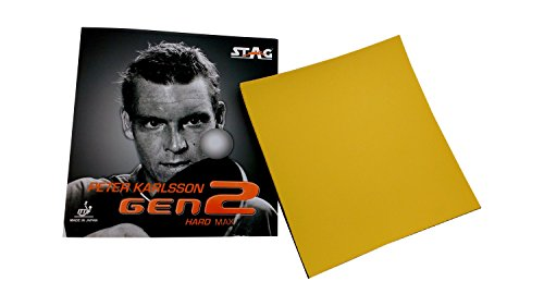 Stag Peter Karlsson Gen2 Hard Max Table Tennis Rubber, 2mm (Red/Yellow)