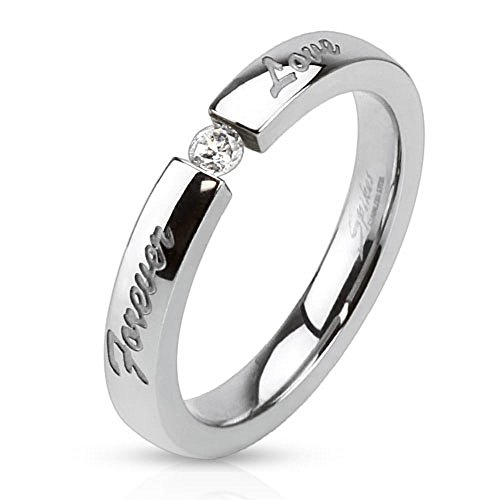 Bungsa® 52 (16.6) Ring Forever Love eingraviert Edelstahl Silber hochglanzpoliert Damenring (Ring Damen Fingerring Partnerringe Verlobungsringe Trauringe Damenring Edelstahlring Chirurgenstahl)
