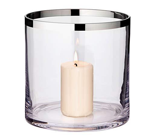 EDZARD Windlicht Molly, mundgeblasenes Kristallglas mit Platinrand, Höhe 18 cm, Durchmesser 18 cm, für Stumpenkerzen