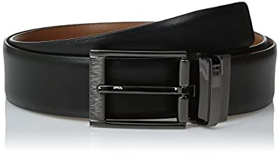 Perry Ellis Men's Portfolio Feather Edge Etched Buckle Soft Touch Belt, Black/Brown Reversible, 38