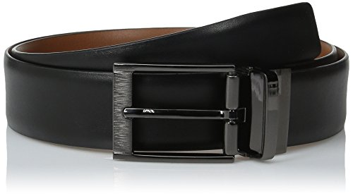 Perry Ellis Men's Portfolio Feather Edge Etched Buckle Soft Touch Belt, Black/Brown Reversible, 36