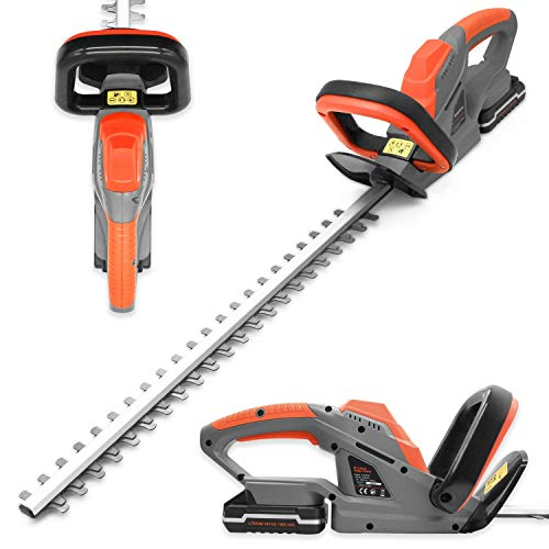 Terratek 20V Cordless Electric Hedge Trimmer, 51cm (510mm) Cutting Length, Easy cut Pro Lightweight Garden Handheld Cutter, Includes Battery, Charger and Safety Blade Guard