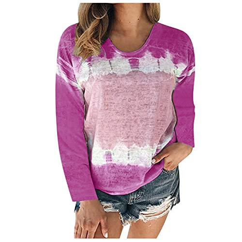BUDAA Damen Langarm-Top, Batik-Patchwork, lockerer Schnitt, Rundhalsausschnitt, Sweatshirt, Übergröße, Loungewear, hot pink, Large