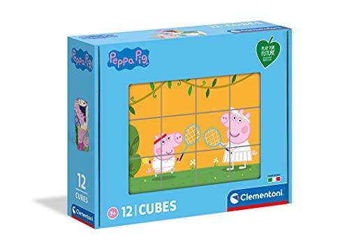 Clementoni Peppa Pig-Puzzle niños de 3 años-Cubos de 12 Piezas-Play For Future-Materiales 100% reciclados-Fabricado en Italia, Rompecabezas Infantiles, Dibujos Animados, Multicolor (45009)