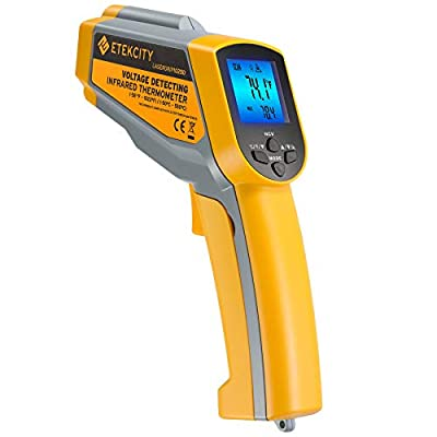 Etekcity Infrared Thermometer 1025D (Not for Human) Dual Laser Temperature Gun-58℉~1022℉ (-50℃~550℃) with Adjustable Emissivity, Non-Contact Voltage Tester (NCV), Standard Size, Yellow & Gray