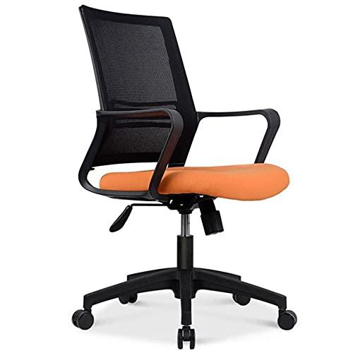 Silla de escritorio ergonómica con soporte lumbar, cómoda silla de malla acolchada con altura ajustable y función mecedora, color naranja