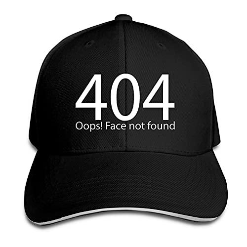 AUDNEDB Error 404 Face Not Found Baseball Cap Herren Damen Classic Sport Casual Sonnenhut Schwarz