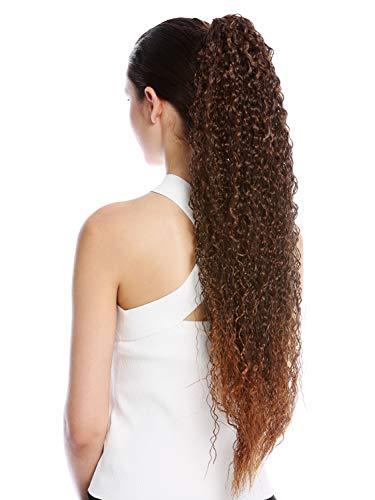 WIG ME UP - N857-V-2T30 Haarteil Zopf Pferdeschwanz extrem lang voluminös lockig Krepplocken gekreppt Afro Kinks Kastanie Braun Gesträhnt 75 cm