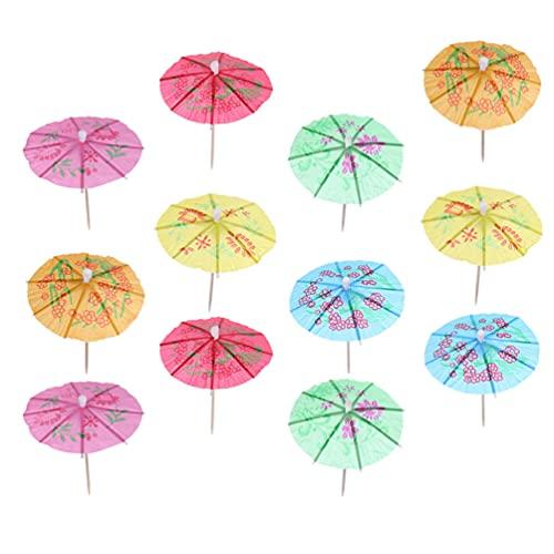 BESTonZON 288Pcs Paraplu Cocktail Picks Tropische Parasol Tandenstokers Cupcake Toppers Decoratie Voedsel Picks Voor…