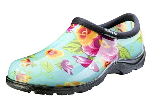 Sloggers Women's Waterproof  Rain and Garden Shoe with Comfort Insole, Pansy Turquoise, Size 8, Style 5114TP08