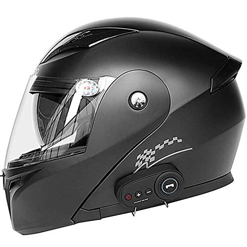 Casco Bluetooth Modular para Motocicleta Visera Solar Doble Tipo Completo Bluetooth Certificado Por Dot Sistema de Comunicación de Intercomunicación Integrado Transmisión Incorporada57-64cm,#7,XXL
