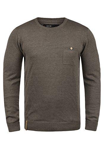 Indicode Demarcus Herren Strickpullover Feinstrick Pullover Mit Rundhals Und Brusttasche, Größe:XL, Farbe:Dark Brown (020)