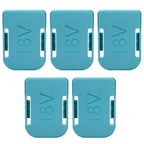 AMONIDA Caja de Almacenamiento de batería, 5 Piezas 18 V, Doble Uso, Cubierta a Prueba de Polvo, Ranura para Soporte de batería de Litio para Makita para Bosch Green