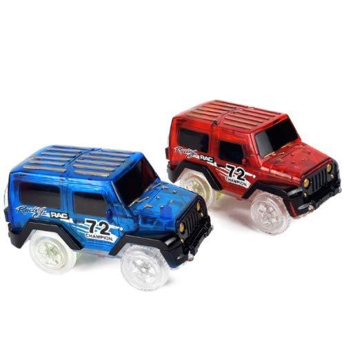 Paquete de 2 coches mágicos de juguete iluminados, coches de carreras para niños que brillan en la oscuridad, compatible con la mayoría de pistas de carreras para niños y niñas