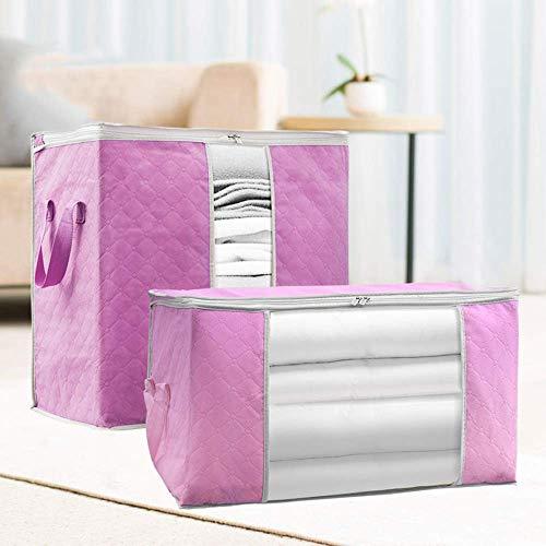 FTSM Clothing Storage Bag,storage Bag with Handle, Foldable Clothing Storage Box, Storage Bag with Large Transparent Window and Blanket, 2 Pcs.
