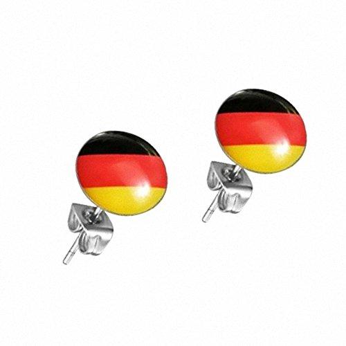 Taffstyle® Fußball Fanartikel 1 Paar Ohrstecker Ohrringe Stecker mit Fussball Weltmeisterschaft WM & EM Europameisterschaft 2016 Deutschland - Schwarz Rot Gold
