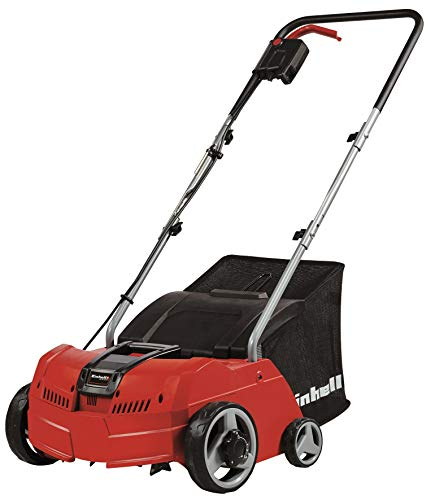 Einhell Electric Scarifier/Aerator GC-SA 1231/1 (Up to 300m², 1200 W, Powerful Series-Wound Motor, 28 L Catch Bag, Ball-Bearing Cutting Unit + Aerating Roller, Adjustable Working Depth with 3 Levels)