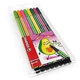 Bolígrafo de punta de fibra 68 de 1 mm, juego de aguacate, cartera de 8 colores surtidos