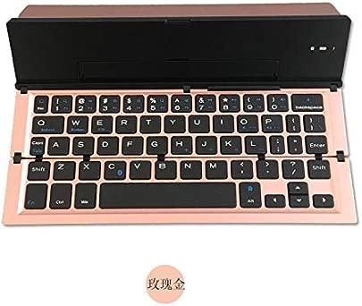ZXYWW Tragbare Tastatur f r iPad Android-Tablet-Smartphone-Laptops Mac iPhone Windows ios Ultrad nne Faltbare wiederaufladbare Batterie Bluetooth-Tastatur Pink