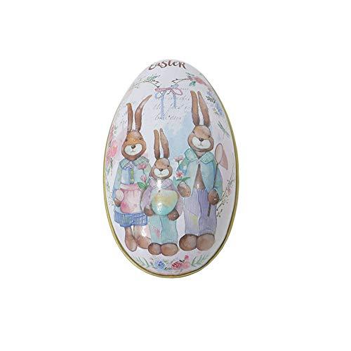 Treer Uova di Pasqua, Decorazione di Pasqua a Motivi Uovo Famiglia di Coniglio Giardino Diversi Colori Decorazione Artigianato Scatola Rotonda di Latta (5. Una Famiglia)