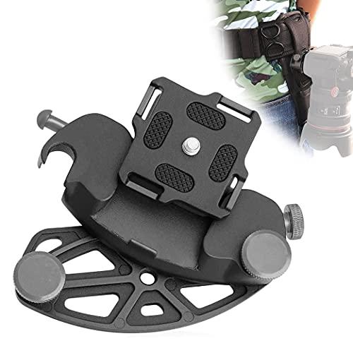 Clip per fotocamera in lega di alluminio, staffa per fotocamera, clip da cintura per supporto per fotocamera con viti da 1/4 di pollice, per Fotocamera DSLR SLR, zaino, treppiede, cintura