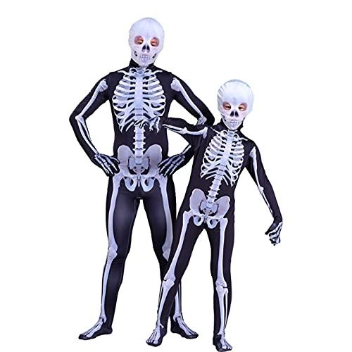 Kostiumy Halloween Kostiumy Kostiumy Dla Dzieci Unisex Szkielet Kombinezon Halloween Fantazyjna Dress Dla Horror Play gry Przystąpienie rodzic-Child Party Cosplay,110