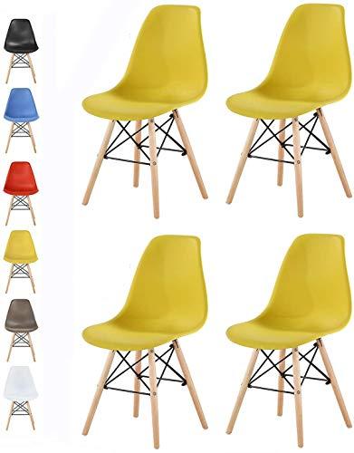 MCC Retro Design Stühle LIA Esszimmerstühle im 4er Set, Eiffelturm inspirierter Style für Küche, Büro, Lounge, Konferenzzimmer etc, 6 Farben, Kult (Gelb)