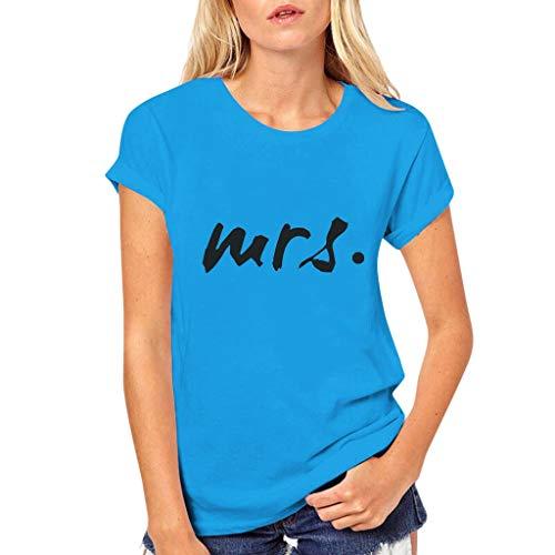 Dasongff Partner Herren + Damen Shirt Mr Mrs Partner Look Pärchen T-Shirt Set für Pärchen als Geschenk