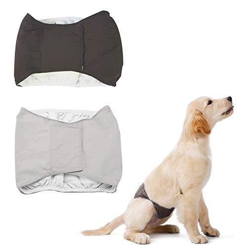 Yemiany Pantaloni sanitari per cucciolo,Pannolini per cani maschi,2 pezzi impermeabili maschi pannolini per cani pantaloni per animali lavabili pannolini per cani maschi forniture (L,marrone,grigio)