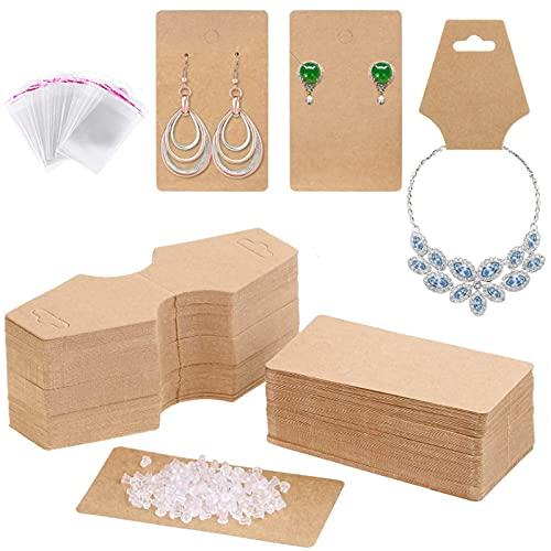 200 Tarjetas de Exhibición de Collar de Pendiente,Tarjetas de Exhibición de Collar Con 100 Bolsas Transparentes Autoadhesivas y 200 Tapones para Pendientes,para Collares Aretes Exhibición de Joyería