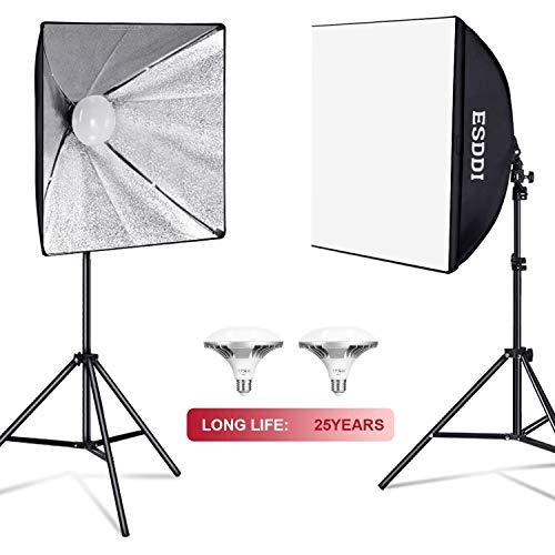 ESDDI Softbox 900W Fotostudio Set with 2x50x50cm Soft Box mit Lichtstativen und 2x5400K E27 Socket Energiesparende LED Fotolampen für Videoaufnahmen und professionelle Fotografie,usw.