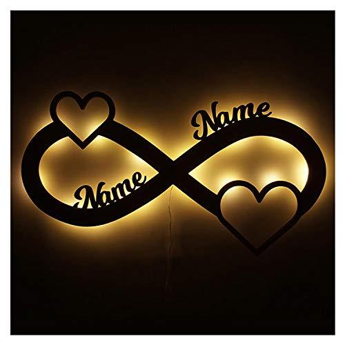 Schlummerlicht Liebe Love Geschenke personalisiert-e mit Namen zur Verlobung Jahrestag Hochzeit für Sie & Ihn Freundin Mädchen Junge Frauen Männer Partner Paare