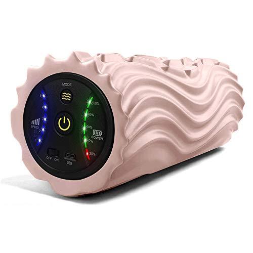 USB充電式電動フォームローラー 振動筋膜マッサージポール リリースストレッチ5段階振動速度可調整 日本語取扱説明書付き