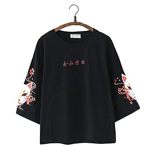 Vdual Mignonne Japonais Renard Sakura T-Shirts pour Femmes Ados Les Filles Court Manche Rond Cou