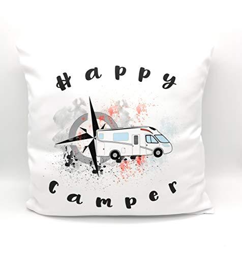 """Kissen """"Happy Camper\"""", Kissen-Bezug 40 x 40 cm, Kuschelkissen mit Spruch und Namen. Prima als Geschenk."""