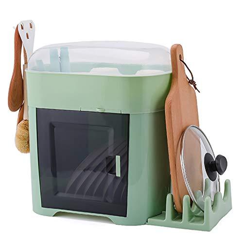 WYQ Blanc Couvert égouttoir Vaisselle Plastique, avec Plateau (pour Ranger Bols, Assiettes, Tasse, Vaisselle) (Couleur : Green, Taille : Dish Rack+Cutting Board Rack)