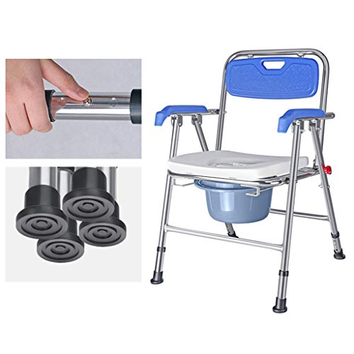 Foldable Adjustable Height Mobile Toilet/Bedside Toilet Bath Chair with Commode Bucket/Suitable for Elderly Disabled/The Best Gift to Old Man