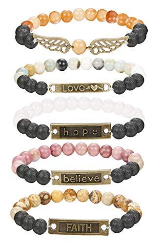 FINREZIO 5 PCS Bead Bracelets for Women Aromatherapy Essential Oil Diffuser Natural Lave Rock Stone Inspirational Bracelet Set 8MM Elastic