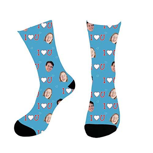 Calcetines faciales personalizados Novedad Calcetines faciales personalizados divertidos con imagen Te amo Impresión Foto personalizada de dos caras en calcetines Regalos para niños Hombres Mujeres