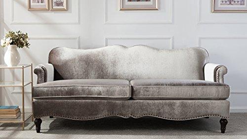 Jennifer Taylor Home Legacy Camelback Sofa Nail head Accents, Grey